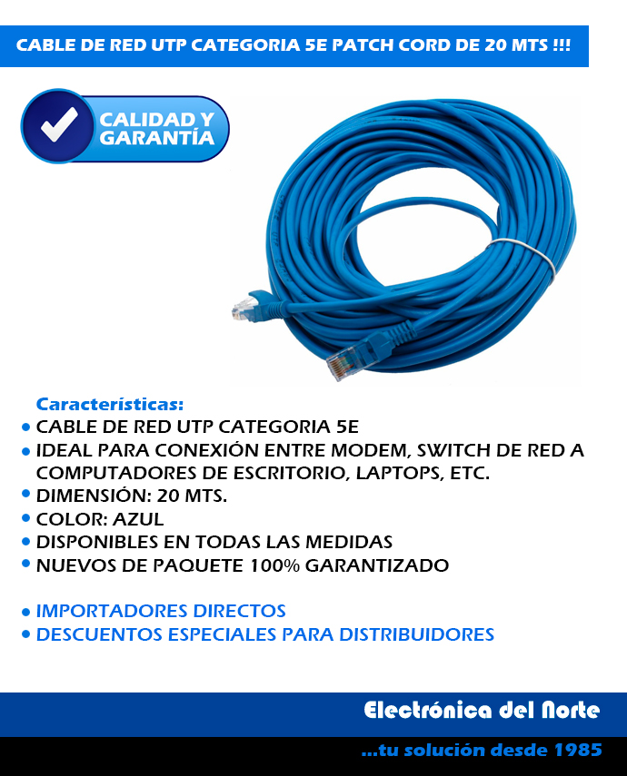 CABLE DE RED 20 MTS